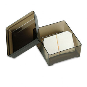 Universal Plastic Business Card File Box w Lid Holds 350 2